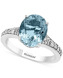 Gemstone Bridal by EFFY® Aquamarine (3-1/10 ct. t.w.) & Diamond (1/4 ct. t.w.) Ring in 18k White Gold