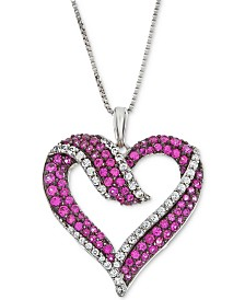 """Lab-Created Ruby (5/8 ct. t.w.) & White Sapphire (1/3 ct. t.w.) Heart 18"""" Pendant Necklace in Sterling Silver"""
