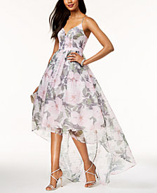 Betsy & Adam Printed Organza High-Low Gown