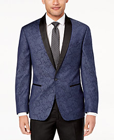 Ryan Seacrest Distinction™ Men's Modern-Fit Navy Paisley Dinner Jacket, Created for Macy's