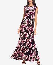 Tahari ASL Velvet Floral-Print Gown