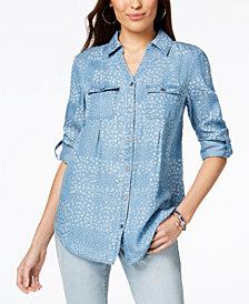 Style & Co Daisy-Print Denim Shirt, Created for Macy's