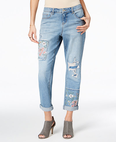 Style & Co Patched Boyfriend Jeans, Created for Macy's