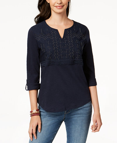 Style & Co Petite Cotton Embellished Split-Neck Top, Created for Macy's