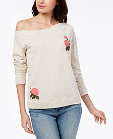 Lucky Brand Embroidered Off-The-Shoulder Knit Top