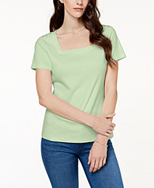 Karen Scott Petite Cotton Square-Neck Top, Created for Macy's