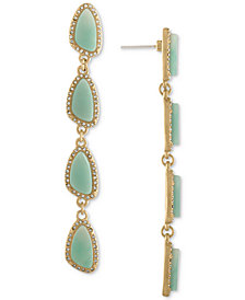 RACHEL Rachel Roy Gold-Tone Pavé & Blue Stone Linear Drop Earrings