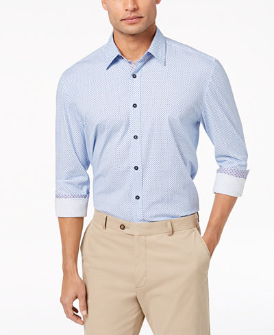 Con.Struct Men's Stretch Marled Dot-Print Shirt, Created for Macy's