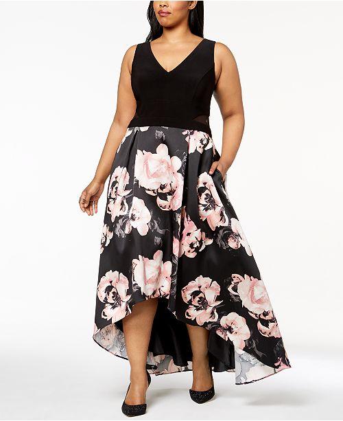 4cc32501338 XSCAPE Plus Size Solid & Floral-Print High-Low Gown & Reviews ...