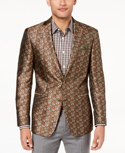 Tallia Orange Men's Big & Tall Modern-Fit Brown Floral Dinner Jacket