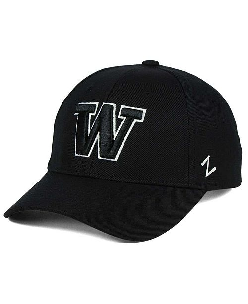detailed look eb598 4d5fd Zephyr Washington Huskies Black   White Competitor Cap - Sports Fan ...