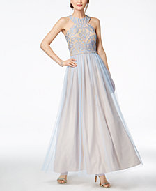 Nightway Sparkle-Embellished & Tulle Gown
