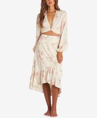 Billabong Juniors' Printed Ruffled Midi Wrap Skirt