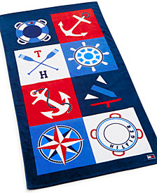"CLOSEOUT! Tommy Hilfiger Cotton 35"" x 66"" Boating Motif Beach Towel"
