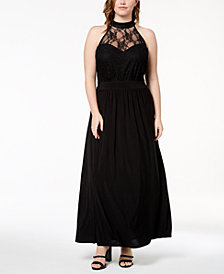 Love Squared Trendy Plus Size Illusion Maxi Dress