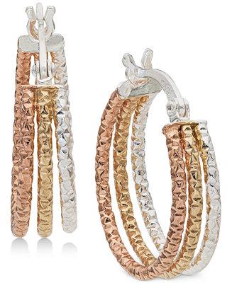 505b814f3e4a4 Giani Bernini Small Tri-Color Hoop Earrings in Sterling Silver & 18k ...