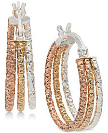 Giani Bernini Small Tri-Color Hoop Earrings in Sterling Silver & 18k Gold- and Rose Gold-Plate, Created for Macy's