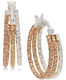 "Giani Bernini Small Tri-Color Hoop Earrings in Sterling Silver & 18k Gold- and Rose Gold-Plate, 0.6"", Created for Macy's"