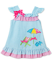 Rare Editions Beach Scene Seersucker Dress, Baby Girls
