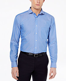 Tasso Elba Men's Classic/Regular Fit Non-Iron Multi Diamond Dobby Dress Shirt, Created for Macy's