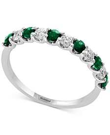 Gemstone Bridal by EFFY® Emerald (1/2 ct. t.w.) & Diamond (1/4 ct. t.w.) Band in 18k White Gold (Also Available in Ruby, Sapphire, & Pink Sapphire)