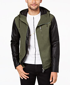 A|X Armani Exchange Men's Mixed-Media Hooded Jacket