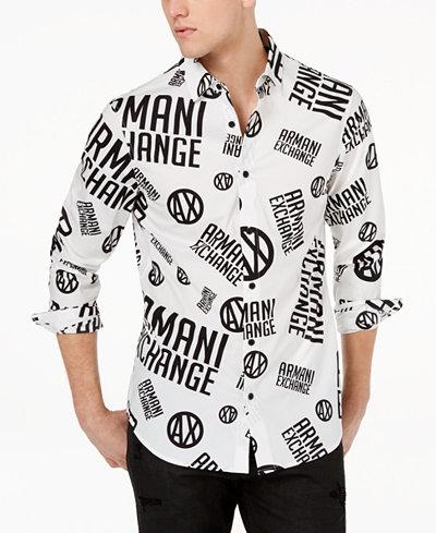 Armani Exchange Men's Logo-Print Stretch Shirt