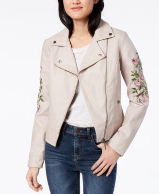 Jou Jou Juniors/' Embroidered Faux-Leather Moto Jacket