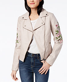 Jou Jou Juniors' Embroidered Faux-Leather Moto Jacket