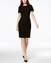 9d1e21b699bde Calvin Klein Seamed Scuba Crepe Sheath Dress