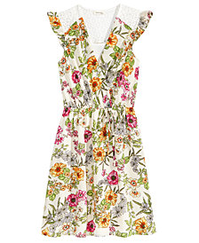 Monteau Faux-Wrap Floral-Print Dress, Big Girls