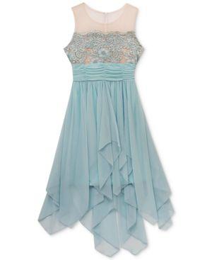 Rare Editions Embroidered Illusion Neck Dress, Big Girls 5734903