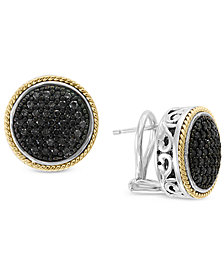 EFFY® Diamond Round Filigree Stud Earrings (1/2 ct. t.w.) in Sterling Silver and 18k Gold