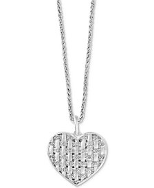 "EFFY® Diamond Woven Heart Pendant 18"" Necklace (1/3 ct. t.w.) in Sterling Silver"