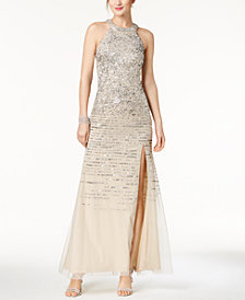Adrianna Papell Sequined Stripe Halter Gown