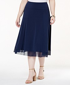 Plus Size Mesh-Hem Midi Skirt, Created for Macy's