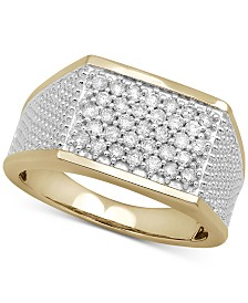 Men's Diamond Two-Tone Cluster Ring (3/4 ct. t.w.) in 10k Gold