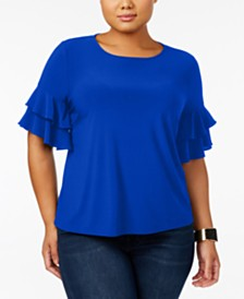 I.N.C. Plus Size Ruffle-Sleeve Top, Created for Macy's