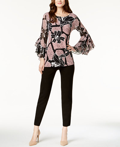 Alfani Printed Ruffle-Sleeve Tunic & Modern Ponté-Knit Skinny Pants