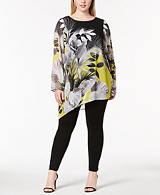 Alfani Plus Size Asymmetrical-Hem Tunic, Created for Macy's