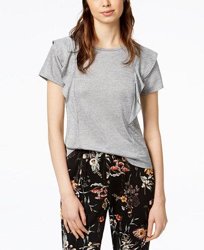 Bar III Ruffled T-Shirt, Created for Macy's
