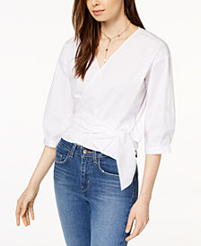 kensie Cotton Surplice Wrap-Tie Top