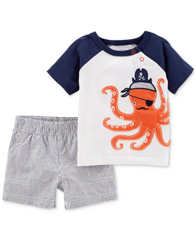 Carter's 2-Pc. Graphic-Print Cotton T-Shirt & Shorts Set, Baby Boys