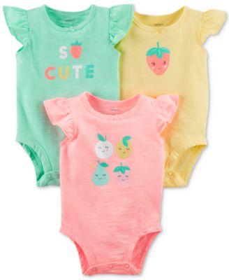 3-Pack Graphic-Print Bodysuits, Baby Girls