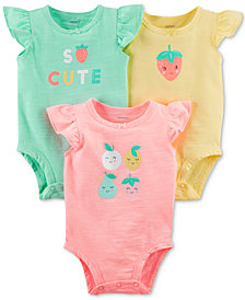 Carter's 3-Pack Graphic-Print Bodysuits, Baby Girls