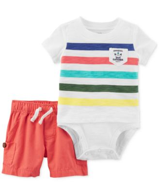 2-Pc. Striped Cotton Bodysuit & Shorts Set, Baby Boys