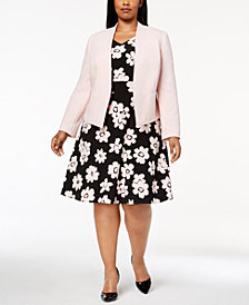 Nine West Plus Size Open-Front Blazer & Daisy-Print Fit & Flare Dress