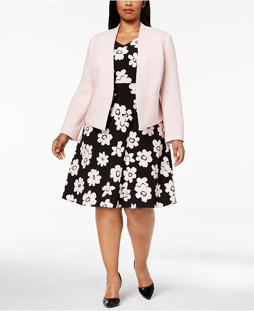 Nine West Plus Size Open-Front Blazer & Daisy-Print Fit & Flare Dress ...