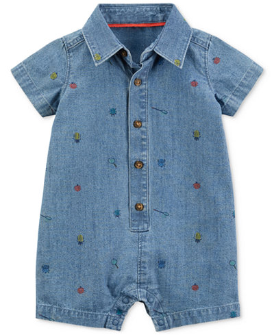Carter's Cotton Chambray Romper, Baby Boys