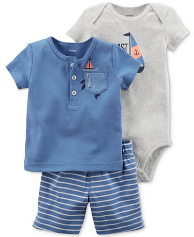 Carter's 3-Pc. Sailboat Cotton T-Shirt, Bodysuit & Shorts, Baby Boys